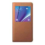 Чехол Samsung Clear View cover для Samsung Galaxy Note 5 N920 (оранжевый, кожаный)