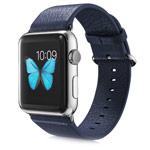 Ремешок для часов G-Case Genuine Leather Band для Apple Watch (38 мм, синий, кожаный)