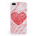 Чехол KissKin Doodle Back case для Apple iPhone 4/4S (Heart, пластиковый)