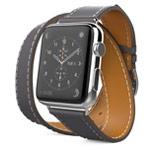 Ремешок для часов Synapse Double Tour Band для Apple Watch (38 мм, серый, кожаный)