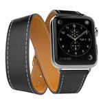 Ремешок для часов Kakapi Double Tour Band для Apple Watch (42 мм, черный, кожаный)