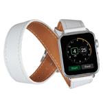 Ремешок для часов Kakapi Double Tour Band для Apple Watch (42 мм, белый, кожаный)