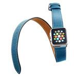 Ремешок для часов Kakapi Double Tour Band для Apple Watch (42 мм, голубой, кожаный)
