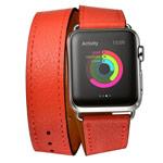 Ремешок для часов Kakapi Double Tour Band для Apple Watch (42 мм, красный, кожаный)