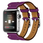 Ремешок для часов Kakapi Double Buckle Cuff для Apple Watch (42 мм, фиолетовый, кожаный)