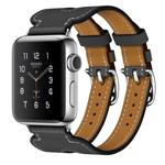 Ремешок для часов Kakapi Double Buckle Cuff для Apple Watch (38 мм, черный, кожаный)