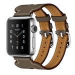 Ремешок для часов Kakapi Double Buckle Cuff для Apple Watch (38 мм, темно-серый, кожаный)