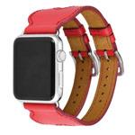 Ремешок для часов Kakapi Double Buckle Cuff для Apple Watch (38 мм, красный, кожаный)
