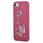 Чехол Devia Flower Embroidery case для Apple iPhone 7 (красный, кожаный)