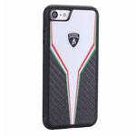 Чехол Lamborghini Scuderia D2 для Apple iPhone 8 (черный/белый, карбон)