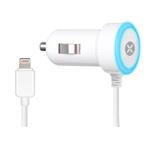 Зарядное устройство Dexim Mini Car charger 2.4A для Apple iPhone/iPad/iPod (автомобильное, белое, Lightning, MFi)