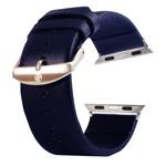 Ремешок для часов Kakapi Plain Leather Band для Apple Watch (42 мм, темно-синий, кожаный)
