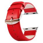 Ремешок для часов Kakapi Plain Leather Band для Apple Watch (38 мм, красный, кожаный)