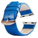 Ремешок для часов Kakapi Plain Leather Band для Apple Watch (38 мм, синий, кожаный)