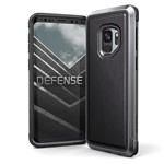 Чехол X-doria Defense Lux для Samsung Galaxy S9 (Black Leather, маталлический)