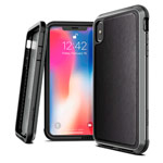 Чехол X-doria Defense Lux для Apple iPhone XS (Black Leather, маталлический)