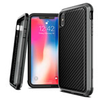 Чехол X-doria Defense Lux для Apple iPhone XS max (Black Carbon, маталлический)