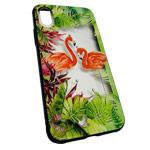 Чехол Synapse Glassy Case для Apple iPhone X (Flamingo in Palms, гелевый/стеклянный)