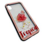Чехол Synapse Glassy Case для Apple iPhone X (Tropical Flamingo, гелевый/стеклянный)
