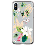 Чехол Comma Crystal Flowers для Apple iPhone XS (Butterfly White, гелевый)