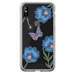 Чехол Devia Crystal Flowering для Apple iPhone XS (голубой, гелевый)