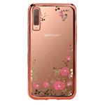 Чехол Yotrix CrystalCase для Samsung Galaxy A7 2018 (розово-золотистый, гелевый)