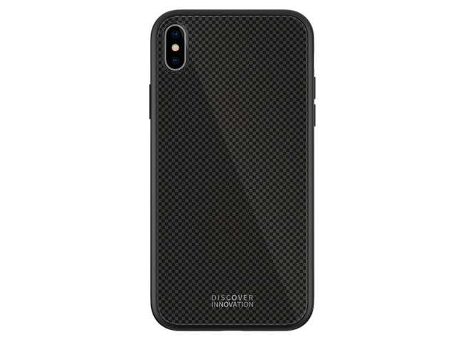 Чехол Nillkin Tempered Plaid case для Apple iPhone XS max (черный, гелевый/стеклянный)