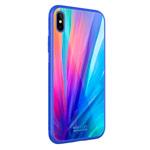 Чехол Nillkin Tempered Plaid case для Apple iPhone XS (синий, гелевый/стеклянный)