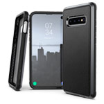 Чехол X-doria Defense Lux для Samsung Galaxy S10 (Black Leather, маталлический)