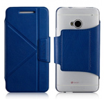 Чехол Momax The Core Smart Case для HTC One 801e (HTC M7) (синий, кожанный)