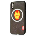 Чехол Marvel Avengers Leather case для Apple iPhone XS (Ironman, матерчатый)
