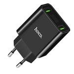 Зарядное устройство Hoco Cool Double Charger C25A универсальное (сетевое, 2.1A, 2xUSB, индикация, черное)