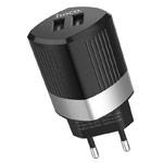 Зарядное устройство Hoco Intelligent Charger C55A универсальное (сетевое, 2.4A, 2xUSB, черное)