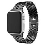 Ремешок для часов Yotrix Metal Scales для Apple Watch 38/40 мм (черный, стальной)