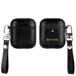 Чехол G-Case Monte Carlo Series для Apple AirPods (черный, кожаный)