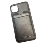 Чехол HDD Luxury Card Slot Case для Apple iPhone 11 (черный, кожаный)
