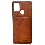 Чехол Yotrix SnapCase Holder для Samsung Galaxy A21s (коричневый, экокожа)