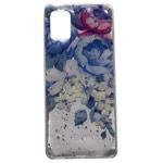 Чехол Yotrix GlitterFoil Case для Samsung Galaxy A31 (Flowers Blue, гелевый)