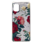 Чехол Yotrix GlitterFoil Case для Samsung Galaxy A31 (Flowers Red, гелевый)