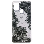 Чехол Yotrix GlitterFoil Case для Samsung Galaxy A21s (Flowers Black, гелевый)