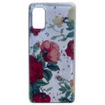 Чехол Yotrix GlitterFoil Case для Samsung Galaxy A41 (Flowers Red, гелевый)