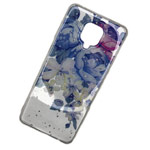 Чехол Yotrix GlitterFoil Case для Xiaomi Redmi Note 9S (Flowers Blue, гелевый)