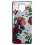 Чехол Yotrix GlitterFoil Case для Xiaomi Redmi Note 9S (Flowers Red, гелевый)