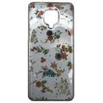 Чехол Yotrix GlitterFoil Case для Xiaomi Redmi Note 9S (Flowers Pink, гелевый)