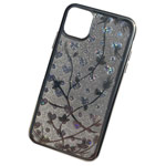 Чехол Yotrix GlitterSoft Leafs для Apple iPhone 11 pro max (серебристый, гелевый)