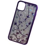 Чехол Yotrix GlitterSoft Leafs для Apple iPhone 11 (фиолетовый, гелевый)