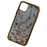 Чехол Yotrix GlitterSoft Leafs для Apple iPhone 11 (золотистый, гелевый)