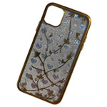 Чехол Yotrix GlitterSoft Leafs для Apple iPhone 11 pro (золотистый, гелевый)