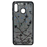 Чехол Yotrix GlitterSoft Leafs для Samsung Galaxy A30 (черный, гелевый)