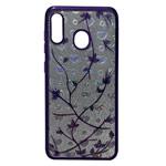 Чехол Yotrix GlitterSoft Leafs для Samsung Galaxy A30 (фиолетовый, гелевый)